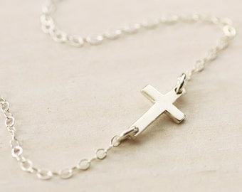 FREE SHIPPING - Sideways Cross Necklace - Sterling Silver Cross Necklace