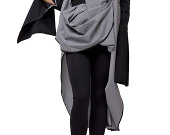 Long  Asymmetrical Shirt / Loose Tunic with Long Sleeves / Oversize Top / Black and Grey Blouse by METAMORPHOZA