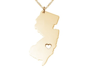 NJ State Necklace,Gold New Jersey State Necklace, NJ State Charm Necklace, State Shaped Necklace Custom Necklace With A Heart-%100 Handmade