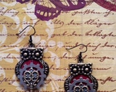 steampunk owl metal earrings