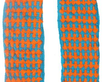 Reddit Arrow Knit SCARF blue orange fleece long