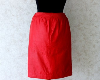 Vintage 90s Red Leather Pencil Skirt  Medium Size