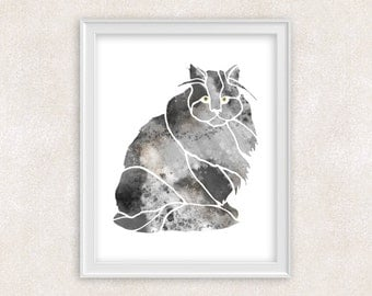 Cat Watercolor Print - Gift For Cat Lover - Home Decor 8x10 PRINT - Item #704E