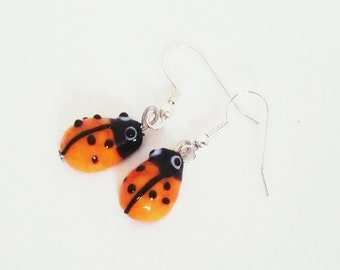 Glass Lampwork Orange Ladybird Handmade Whimsical Quirky Dangle Earrings
