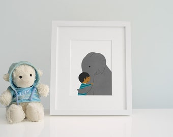 Elephant Illustration Print - Kids nursery wall art - Baby Elephant Nursery - Prints for Kids  - Little boy & Elephant - Child's Room