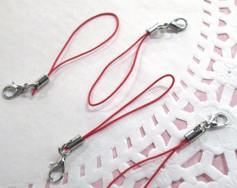 15 Red Cell Phone Straps with clasp, #858