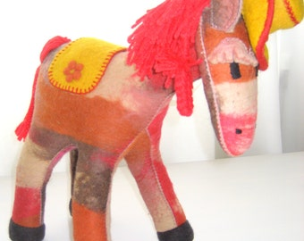 Felted Donkey. Art Toy. Felted Stuffed  Puppet. Handmade Toys.