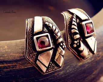 ON SALE Greek earrings, vintage silver earrings, silver clip earrings, ruby earrings, clip on earrings, hand forged earrings, rhombus
