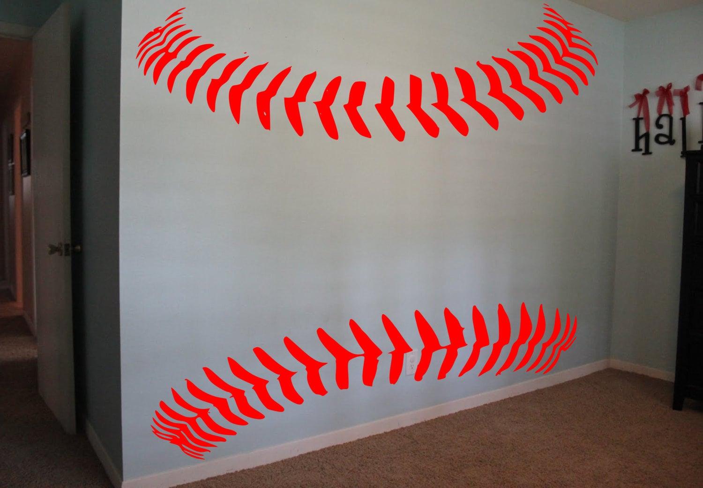 Baseball softball laces wall decal baseball decor softball for Baseball wall mural
