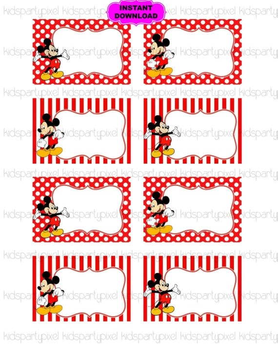 Mickey Mouse Name Tag Minnie Mouse Printable Digital