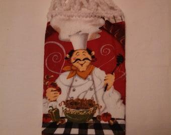 Italian Chef with Spaghetti Kitchen Hanging Towel