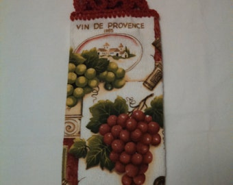 Wine and Grapes Kitchen Hanging Towel