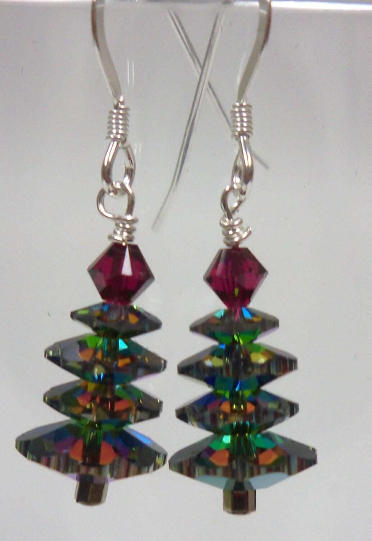 handmade jewelry swarovski christmas tree earrings 12414vm