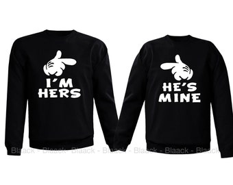 Couple Sweatshirt - I am Her's & He is Mine - 2 Couple Matching Love Crewneck Sweatshirts