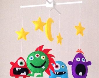 Baby Mobile - Monster Mobile - Alien Mobile - Cot Mobile - Nursery Decor - Alien baby - Baby boy mobile