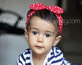 Retro Headband Headwrap | Red Polka Dots | Baby Toddler Children Adults