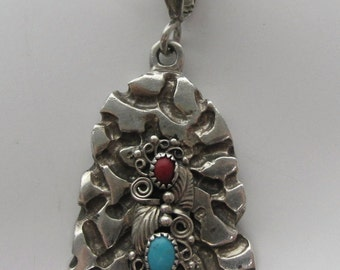 Sterling Silver Turquise and Coral Nugget Pendant