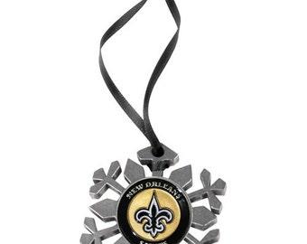 New Orleans Saints Snowflake Christmas Ornament