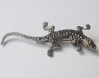 Vintage Silver Marcasite Lizard Brooch Pin