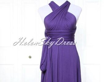 Dark Purple Infinity Dress, short Bridesmaids Dresses, Wrap Dresses, Convertable dresses