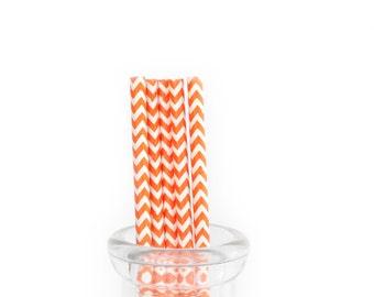 Tangerine Chevron Paper Straws
