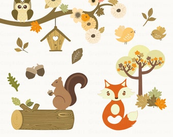 Woodland Animals Clipart. Animals Clipart. Squirrel, Fox, Owls, Birds. 15 images, 300 dpi. Eps, Png files. Instant Download.