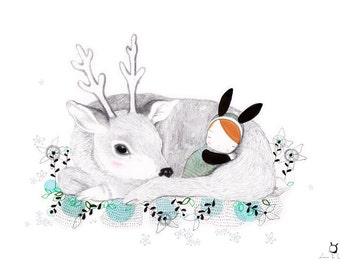 "Calming art print ""Buonanotte""-The deer-Goodnight Sleep for babies"