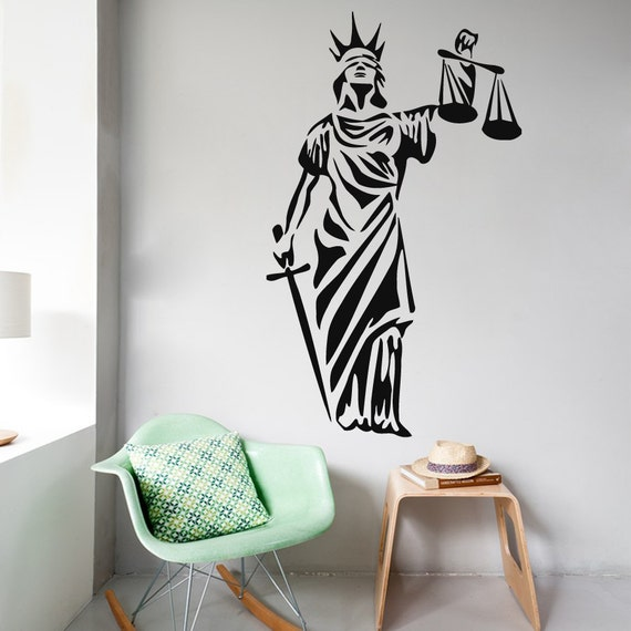 Wall decals statue of justice goddess woman by for Room decor justice