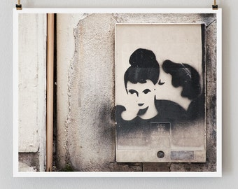 "Paris Photography, ""Graffiti Kiss"" Large Art Print, Modern Wall Art, Minimalist Paris Print, College Student,  Black and White"