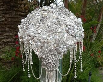 CRYSTAL BROOCH BOUQUET , Deposit, Custom Silver Jeweled Bridal Brooch Wedding Bouquet, Brooch Bouquet, Crystal Bouquet, Deposit Only