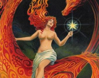 Dragon Goddess 5x7 Greeting Card Art Nouveau Pagan Mythology Psychedelic Gypsy Witch Goddess Art