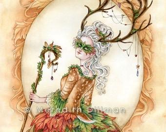 Woodland faerie, Autumn, Masquerade Ball, Stag horns, fantasy art print 8x10