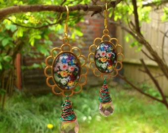 Old Fashioned Dangly Floral Earrings with Wire Wrapped Drops - Flower cabochons in vintage brass settings with wire-wrapped faceted drops