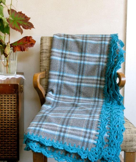 Plaid Wool Throw In Aqua/Teal Blue & Grey W/ By Ohthisnose