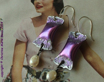 smashed KNITTING needle earrings with freshwater pearls in purple magenta... little gypsy pillows. KNE-104