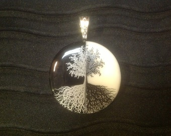 Tree of Life Black and White Pendant