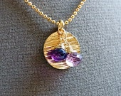 Purple and Lilac Amethyst Onion Briolettes // Textured Gold Disc Pendant // Gold Ball Chain Necklace // Duo Amethyst Pendant