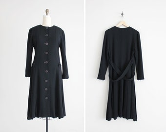 chloe coat / drop waist coat / long black wool coat