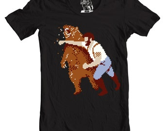 Men's Retro Haymaker, Videogame t-shirt, Nintendo T Shirt, Geeky Geek Tee, Nerdy Gift for Guys, Nerd Present, 8-bit Man Punching Bear, S-2XL