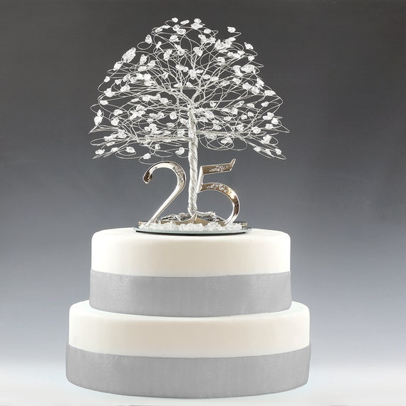 "25th Anniversary Cake Topper Gift Decoration Birthday Idea Tree in Clear Quartz Crystal and Silver Tone Wire - 8"" wide 9"" tall with 5"" Base"
