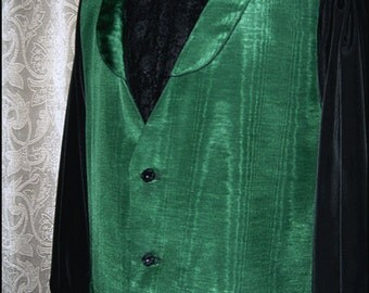 Absinthe Green Moire Waistcoat with Jet Black Buttons by Kambriel - Brand New & Ready to Ship - Dapper Steampunk Edwardian Revival