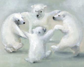bear holiday cards, Christmas Card Set, Holiday cards, Christmas cards -Polar Bears Dancing- solstice