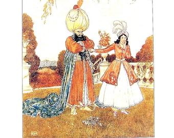 Dulac Fairy Tales - Bluebeard - 1979 Vintage Book Plate - 8.5 x 11