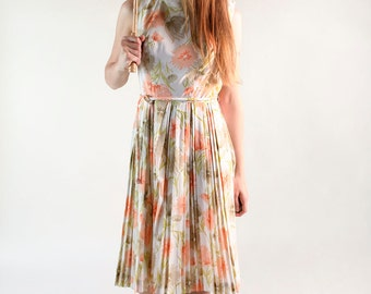 Vintage 1960s Floral Dress - Peach Pastel Flower Garden Summer Dress - Medium Large