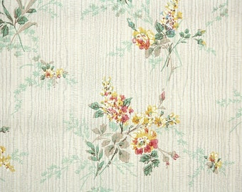 1930's Vintage Wallpaper - Floral Wallpaper with Yellow and Red Garden Flowers