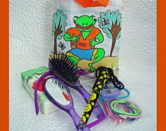 Hand painted Frog Tote Stocking Stuffer with Accessories