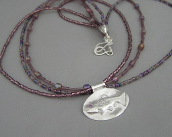 Trout Pendant - Recycled Silver - Eco-friendly - Alexandrite Eye - Precious Gem - Lavendar Purple