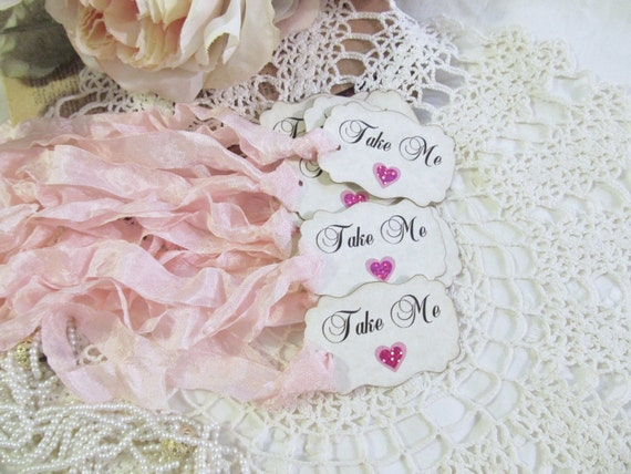 Alice Drink Me Eat Me or Take Me Party Favor Tags w/ribbons - baby pink hearts & pink sparkle hearts  - script font - Set of 18