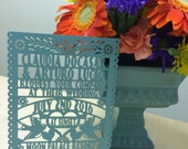 Laser cut  Invitation - Papel Picado Inspired Wedding 5x7 card Rehearsal Engagement Bridal Shower Couples