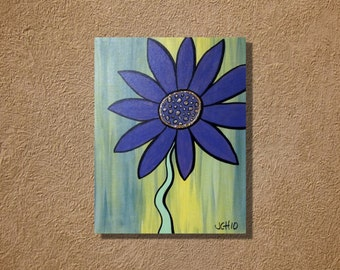 Blue Flower on Green Background Original 11 x 14 painting
